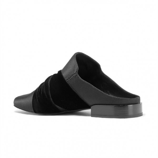 Black Round Toe Loafers for Women Mules image 3
