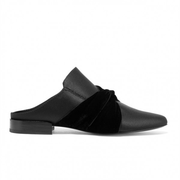 Black Round Toe Loafers for Women Mules image 2