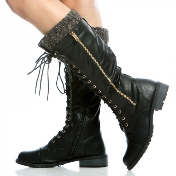Black Round Toe Motorcycle Boots Lace up Fashion Boots US Size 3-15 image 5