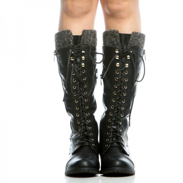 Black Round Toe Motorcycle Boots Lace up Fashion Boots US Size 3-15 image 3