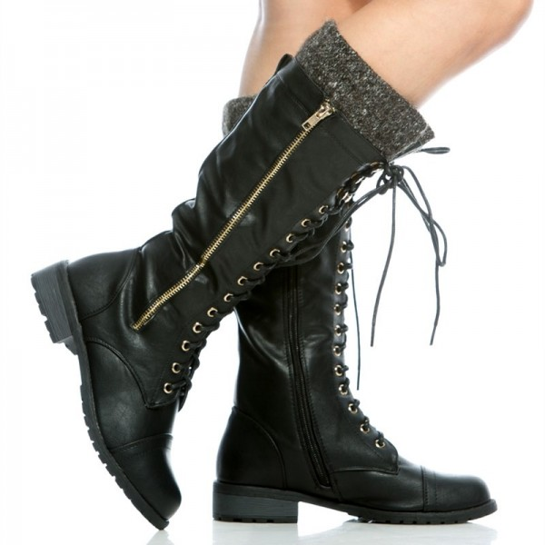 Black Round Toe Motorcycle Boots Lace up Fashion Boots US Size 3-15 image 4
