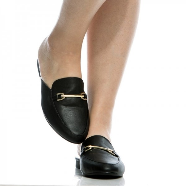 Black Comfy Loafer Mules Round Toe Flat Loafers for Women image 3