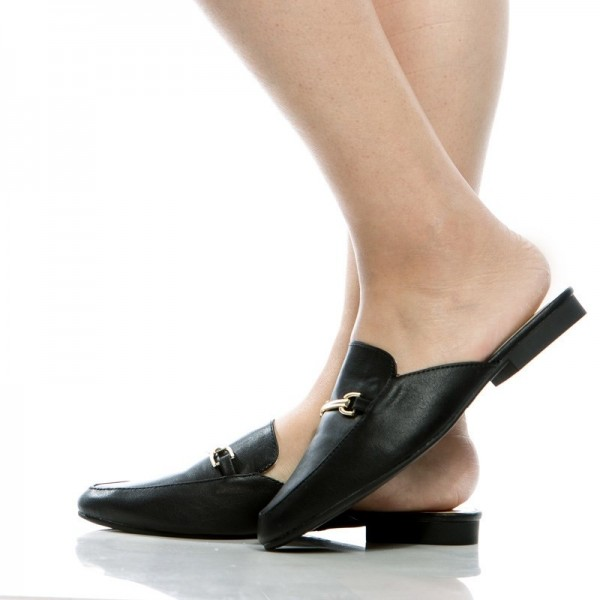 Black Comfy Loafer Mules Round Toe Flat Loafers for Women image 1