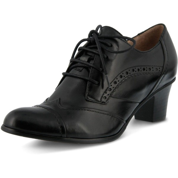 Black Round Toe Oxford Heels Lace up Vintage Wingtip Shoes image 1