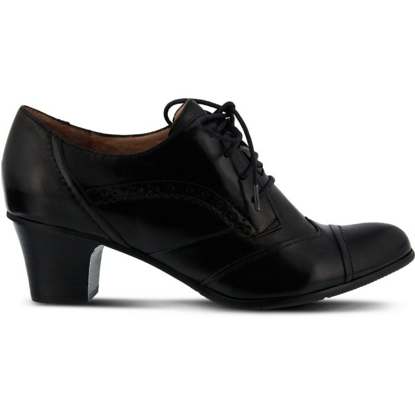 Black Round Toe Oxford Heels Lace up Vintage Wingtip Shoes image 4