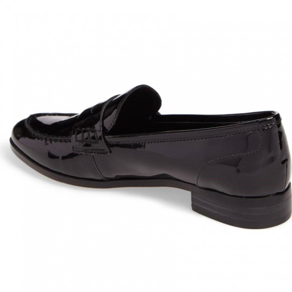 Black Patent Leather Round Toe Slip-on Flat Penny Loafers for Women image 3