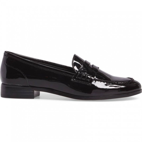 Black Patent Leather Round Toe Slip-on Flat Penny Loafers for Women image 2