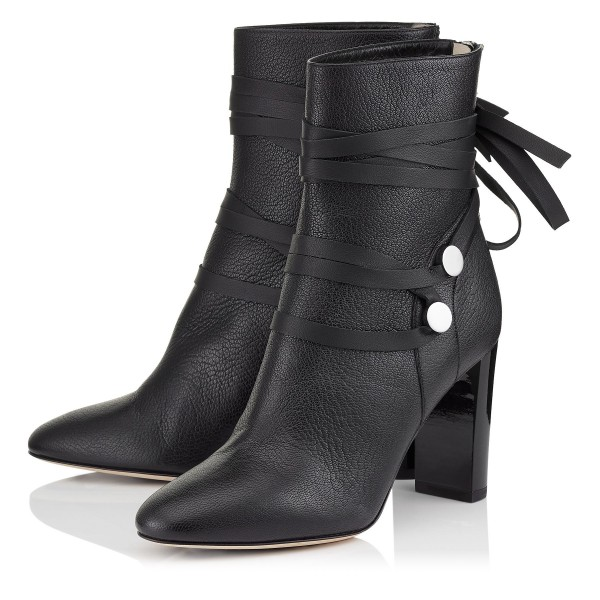 Black Vegan Boots Round Toe Strappy Chunky Heel Ankle Boots image 1