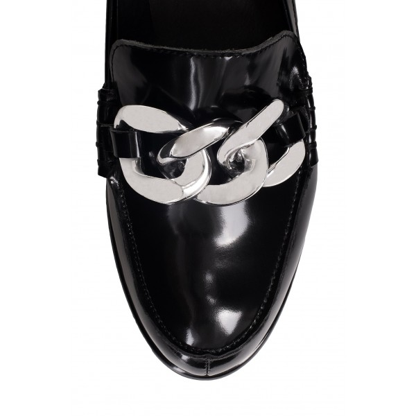 Black Round Toe Chains Loafers for Women image 3