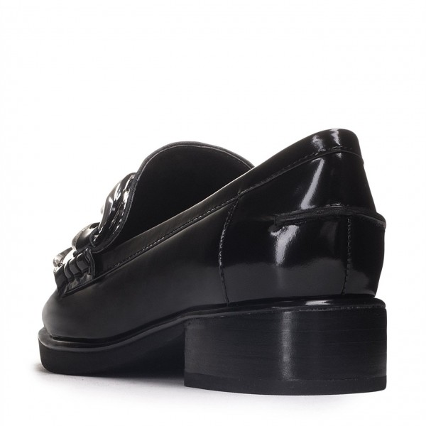 Black Round Toe Chains Loafers for Women image 2