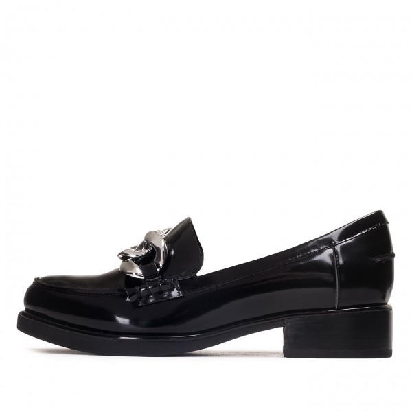 Black Round Toe Chains Loafers for Women image 4