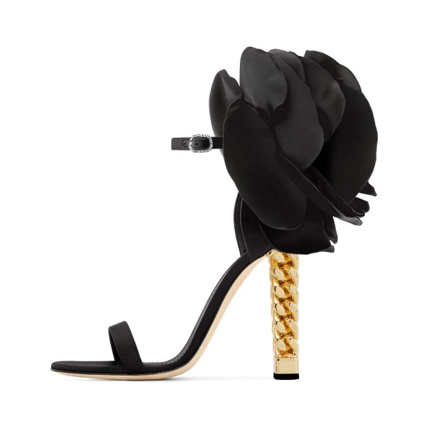 Black Satin Floral Heels Gold Metal Chain Heel Style Prom Sandals image 2