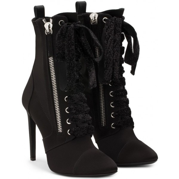 Black Fashion Boots Pointy Toe Stiletto Heels Lace Up Ankle Boots image 3