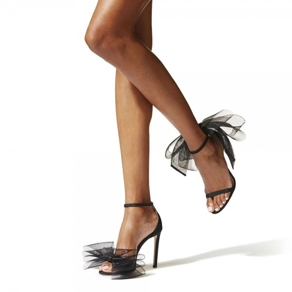 Black Satin Mesh Bow Stiletto Heel Ankle Strap Sandals image 2