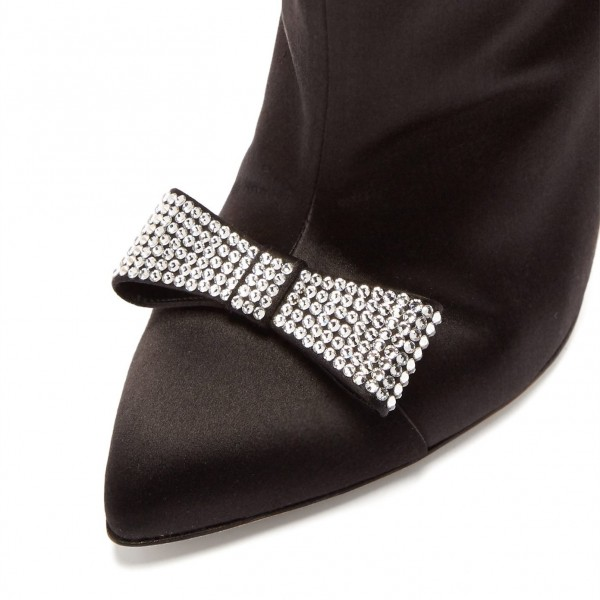 Black Satin Rhinestone Bow Stiletto Heel Ankle Booties image 3