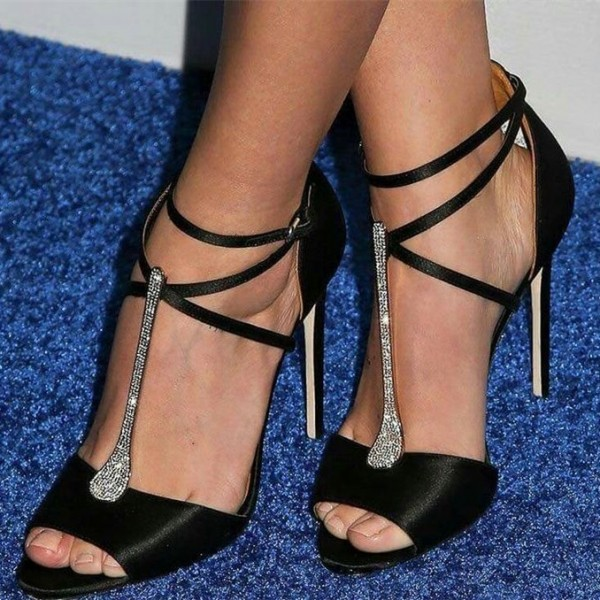 Black Satin Stiletto Heels T Strap Sandals Rhinestone Evening Shoes image 1