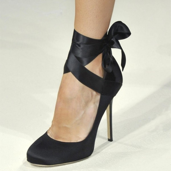 Black Satin Strappy Heels Round Toe Pumps image 3