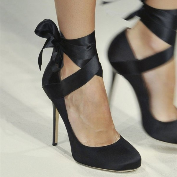 Black Satin Strappy Heels Round Toe Pumps image 2