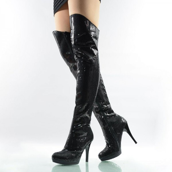 f839af075a Black Sequin Boots Closed Toe Over-the-Knee Stripper Boots for Party ...