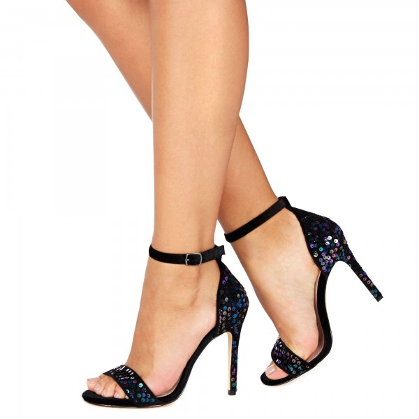 Black Sequined Ankle Strap Sandals Open Toe Stiletto Heels Sandals image 1