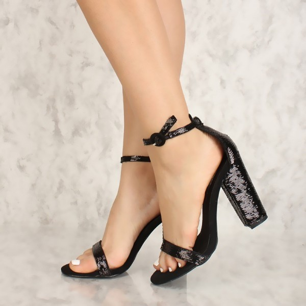 2ea20762b37 Black Sequined Open Toe Chunky Heels Sandals Prom Shoes for Work ...