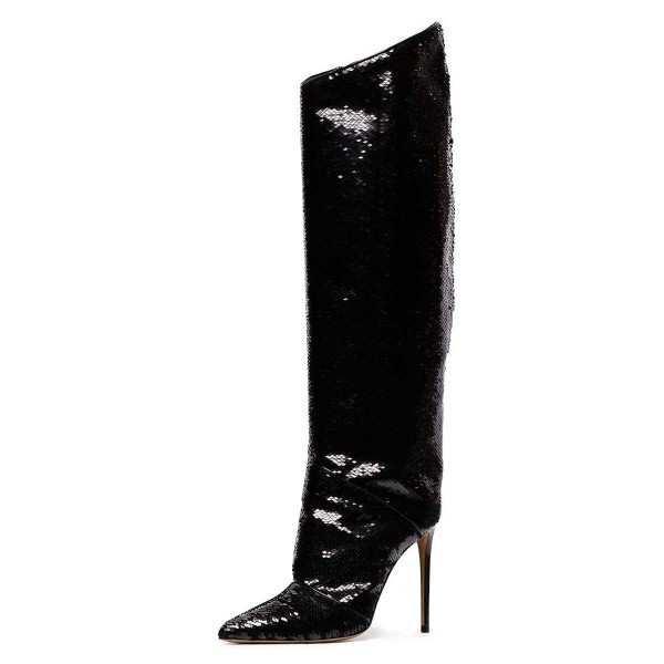 d1f554c95 Black Sequin Boots Pointy Toe Stiletto Heel Evening Knee High Boots image 1  ...