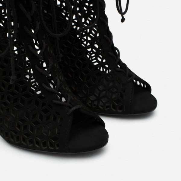 Black Laser cut Lace up Heels Peep Toe Hollow out Summer Boots image 3