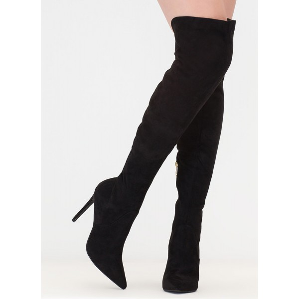 Black Sexy Stiletto Boots Pointed Toe Over-the-Knee Boots image 2