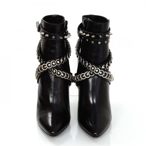 Black Stiletto Heels Pointy Toe Studs Ankle Booties  image 3