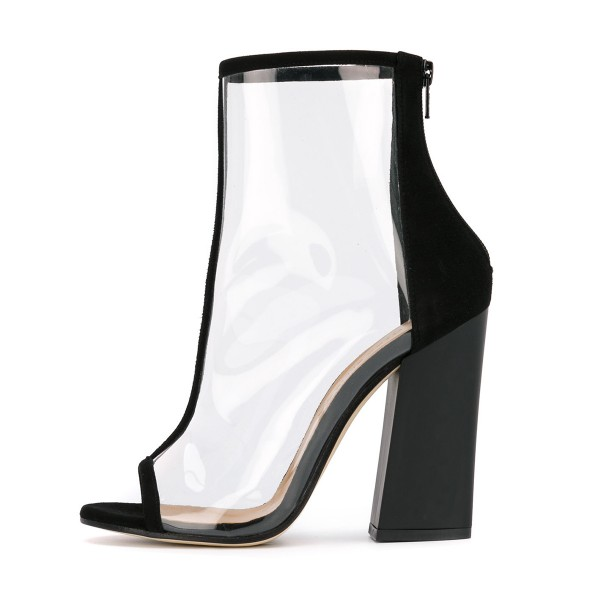 Black Short Boots Peep Toe Chunky Heel Fashion Clear Ankle Boots image 4