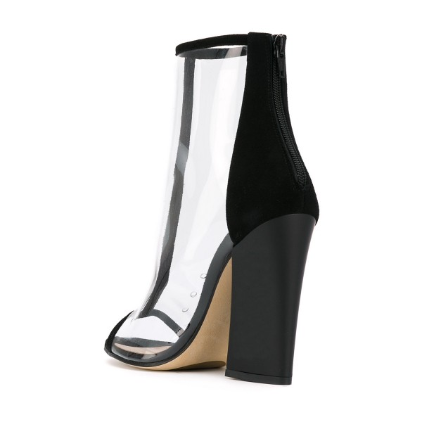 Black Short Boots Peep Toe Chunky Heel Fashion Clear Ankle Boots image 3