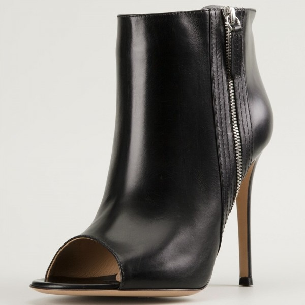 Black Side Zipper Peep Toe Stiletto Boots Sexy Ankle Boots image 1