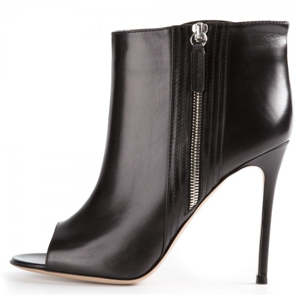 Black Side Zipper Peep Toe Stiletto Boots Sexy Ankle Boots image 2