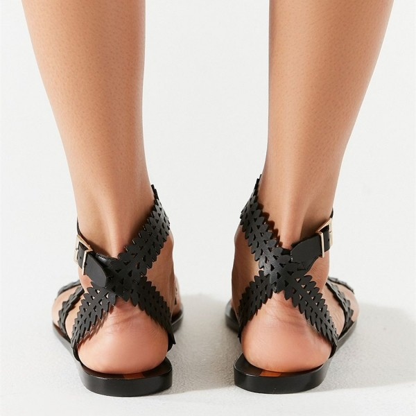 Black Slingback Cross Comfortable Flats Hollow out Gladiator Sandals image 3