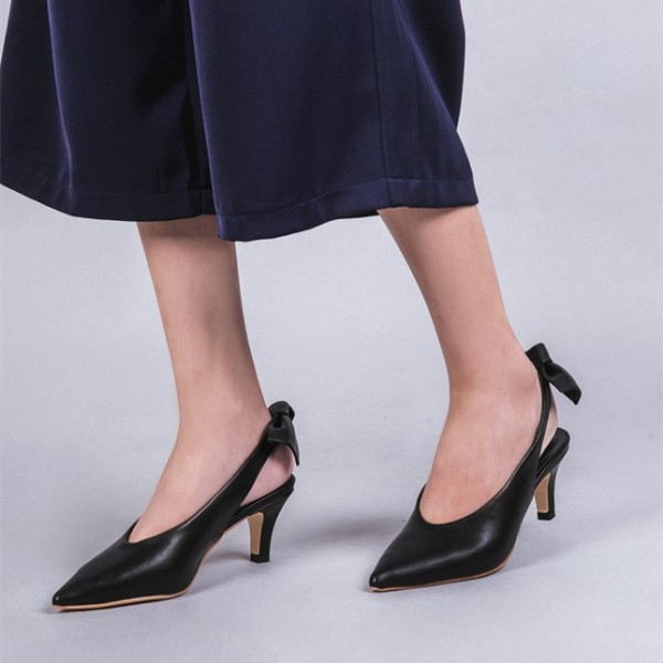Black Slingback Heels Pointy Toe Cone Heel Pumps with Bow image 1