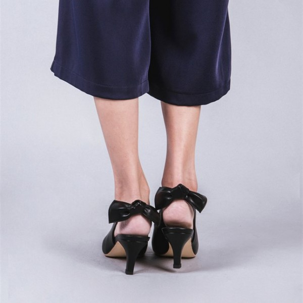 Black Slingback Heels Pointy Toe Cone Heel Pumps with Bow image 2