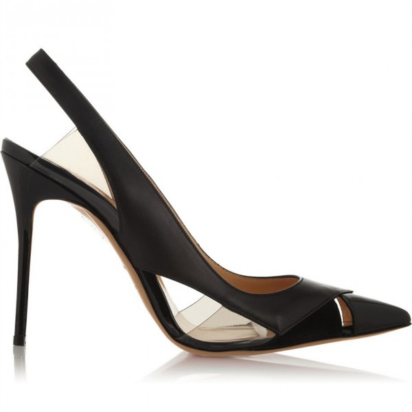 b0f0da1ac074 ... Women s Black Transparent Stiletto Heels Slingback Pumps Office Shoes  image ...