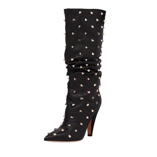 Black Slouch Boots Studs Pointy Toe Kitten Heel Boots image 1