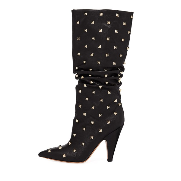 Black Slouch Boots Studs Pointy Toe Kitten Heel Boots image 2