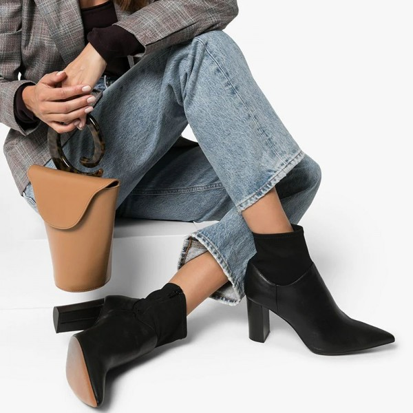 Black Sock Boots Pointed Toe Chunky Heel Ankle Boots image 3