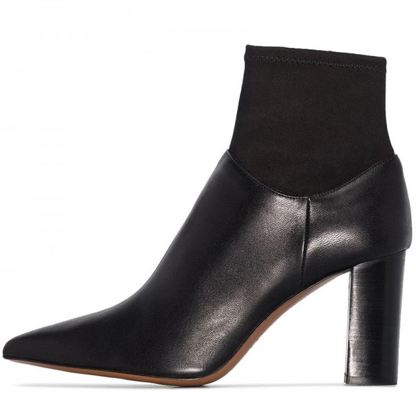 Black Sock Boots Pointed Toe Chunky Heel Ankle Boots image 1