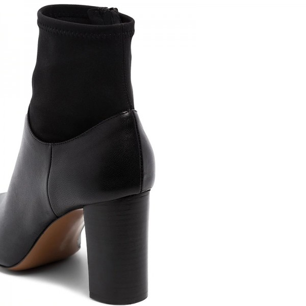 Black Sock Boots Pointed Toe Chunky Heel Ankle Boots image 2