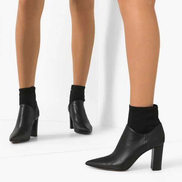 Black Sock Boots Pointed Toe Chunky Heel Ankle Boots image 4