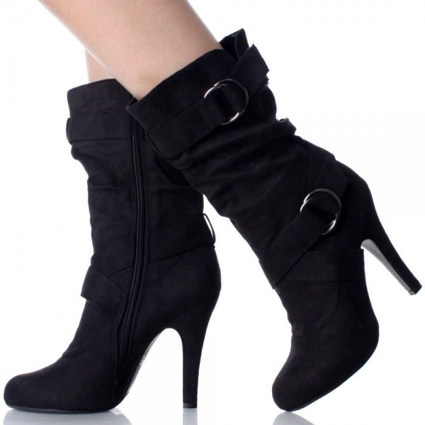 Black Soft Suede Strappy Boots Pointy Toe Stiletto Heels Booties   image 1
