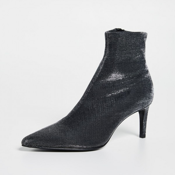 Black Sparkly Pointy Kitten Heels Ankle Booties image 2