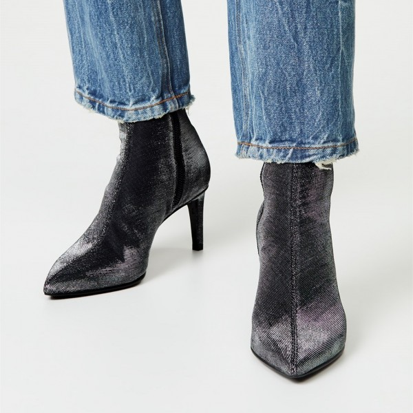 ef08e691e89 Black Sparkly Pointy Kitten Heels Ankle Booties
