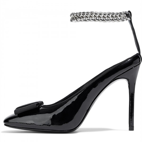 Black Square Toe Bow Heels Patent Leather Chain Ankle Strap Pumps image 1