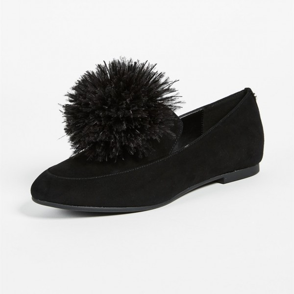 Black Square Toe Furry Ball Comfortable Loafers for Women image 2