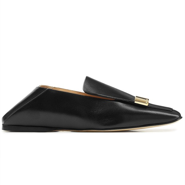 Black Loafer Mules Square Toe Office Flat Loafers for Women image 2