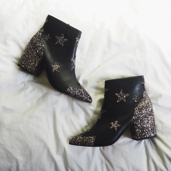 Black Star Glitter Boots Block Heel Ankle Boots image 1
